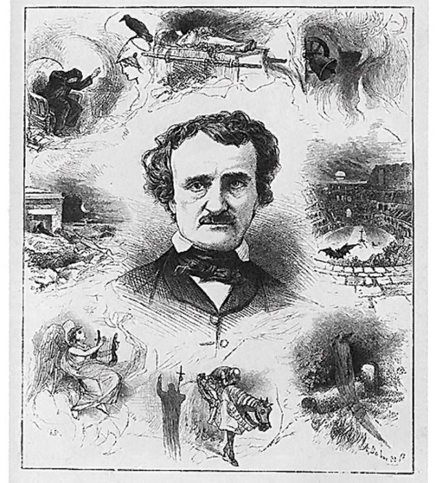 Эдгар По и мотивы его поэзии. Гравюра на дереве, 1876 год