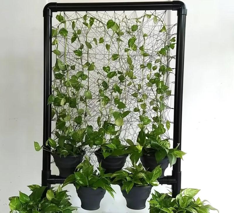 Необычная и стильная рама для растений из труб ПВХ интерьер,переделки,своими руками,сделай сам