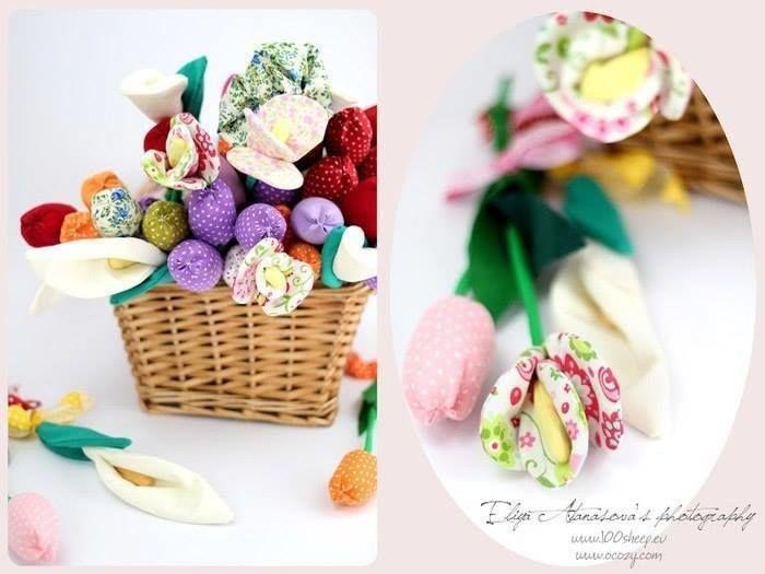 Текстильные тюльпаны для декора квартиры интерьер,рукоделие,своими руками,сделай сам