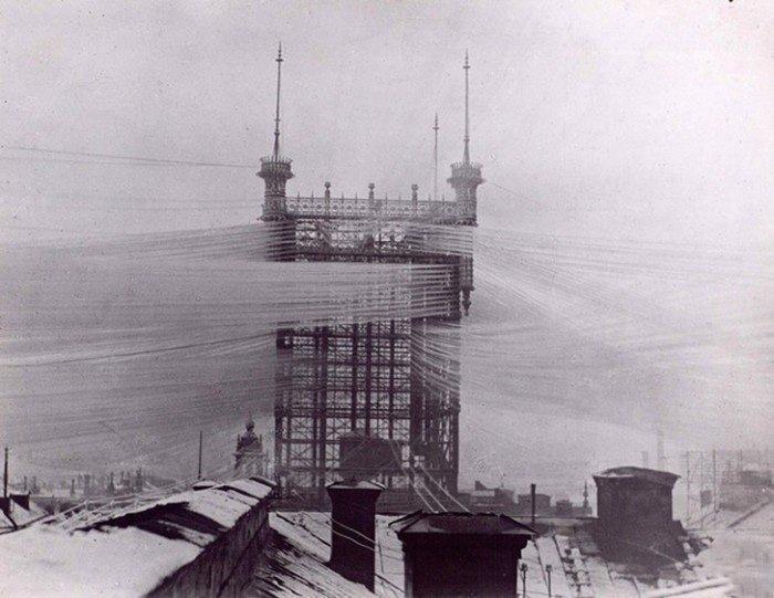 Так в 1890 году выглядела система из 5000 телефонных линий в Стокгольме. история, классика, фото