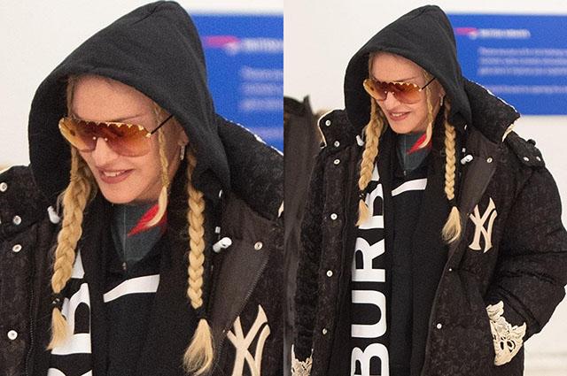Снова блондинка: Мадонна в объемном пуховике в аэропорту Нью-Йорка