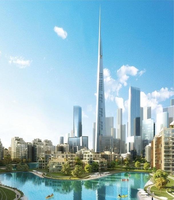 Так будет выглядеть Королевская башня (Jeddah Tower) посреди города будущего Jeddah Economic City (Саудовская Аравия). | Фото: thetowerinfo.com.