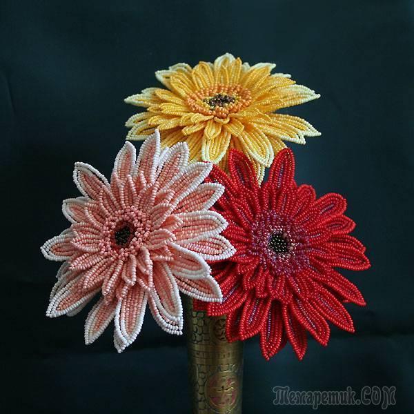 original Как сделать цветок герберы из бисера