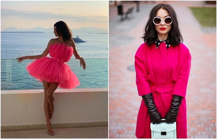 Ярко-розовое коктейльное платье и осеннее пальто