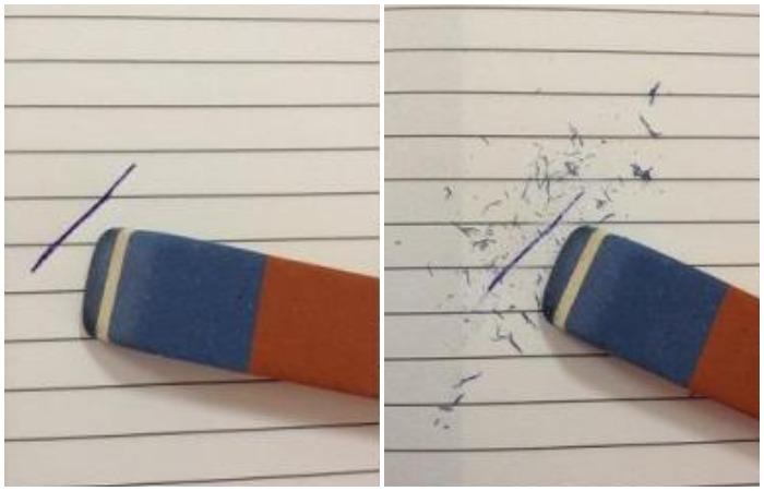 Считать, что синяя сторона стирает ручку, а оранжевая - карандаш - заблуждение