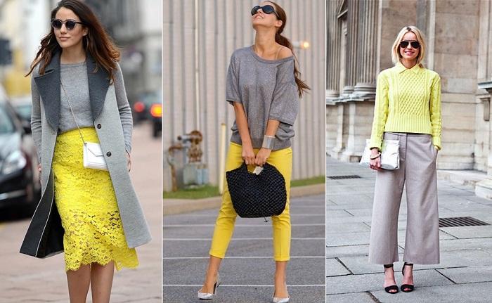 Серый и бледно-желтый создают изысканный и женственный образ. / Фото: superladies.ru