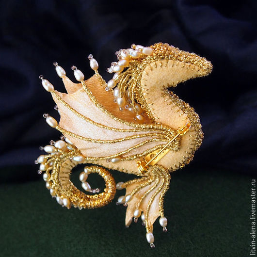 Brooches handmade. Brooch dragon 'Margo'. Brooch beads. Embroidered dragon. Golden dragon. master Alena Litvin. My Livemaster.
