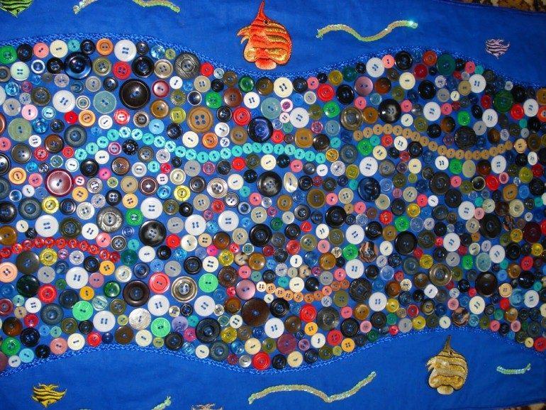 Массажный коврик из пуговиц для дома и дачи,рукоделие