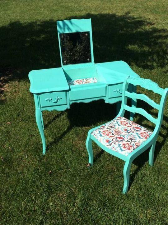 Креативные идеи преобразить старую мебель с помощью росписи декор,интерьер,новая жизнь старых вещей