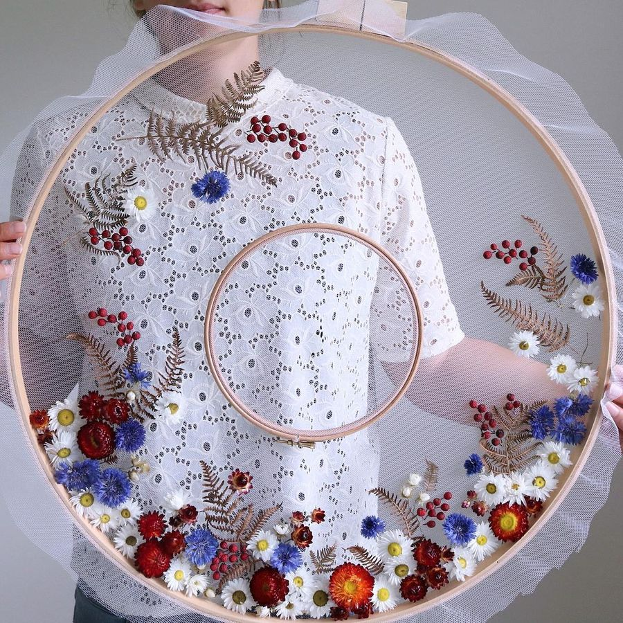 Цветочные композиции в пяльцах Ольга, композиции, живых, пяльцах, материалом, нежные, разными, цветов, вышивания, рыболовную, канву, каждым, противомаскитную, числе, композиция, обреталасвой, особенный, сетки, разные, характер