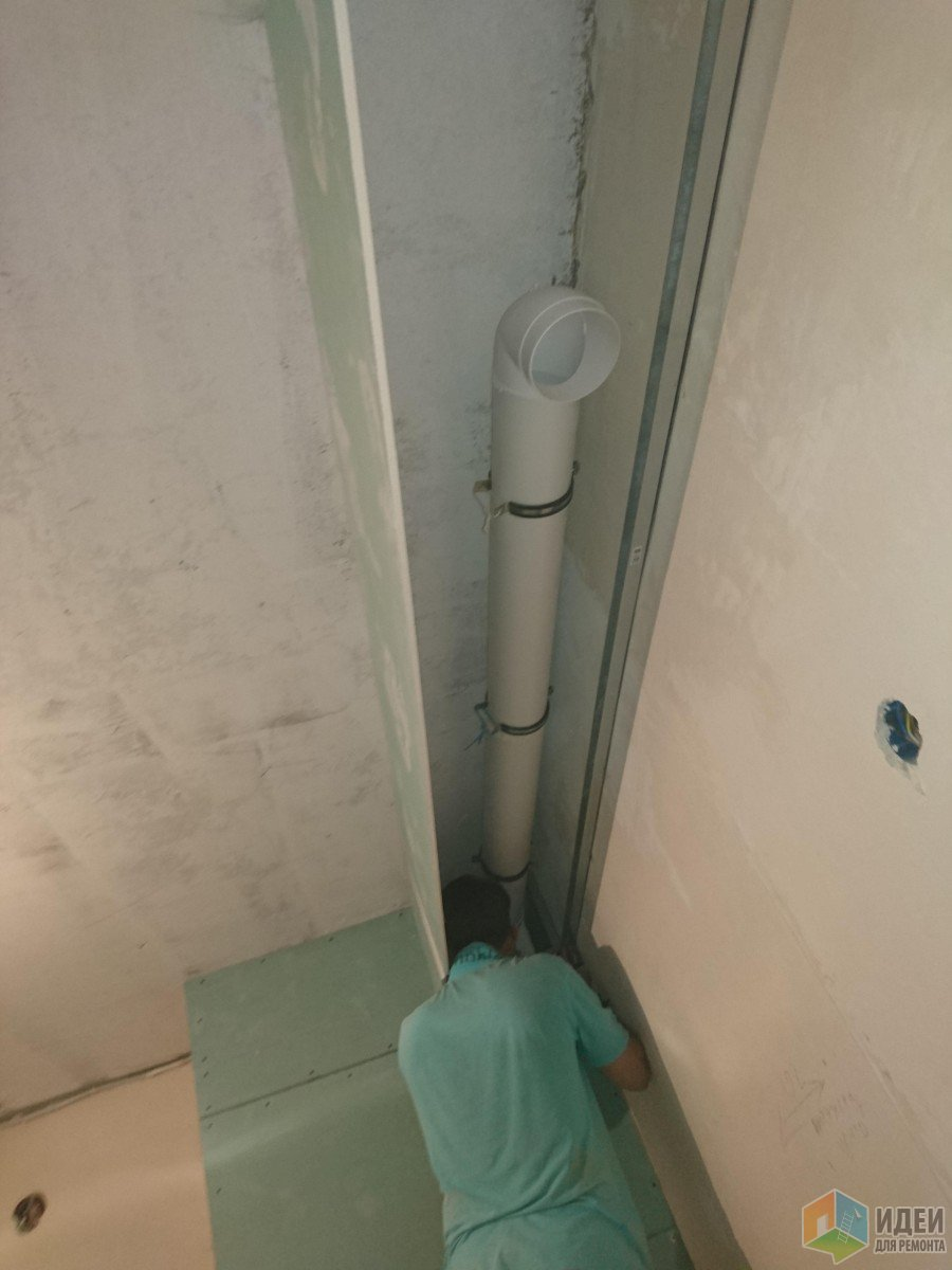 Труба для вытяжки в вентялиционную шахту, монтируем на подвесы
