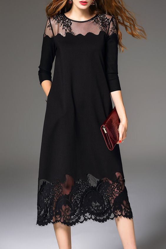 Lace Spliced Midi Dress Click on picture to purchase!