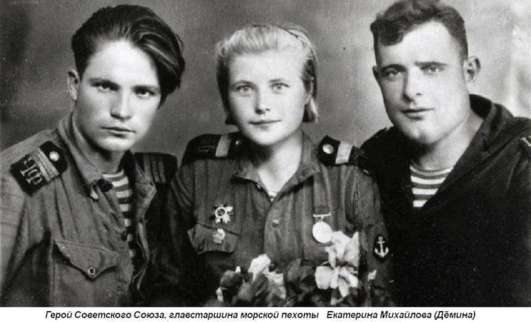 Герой Советского Союза Катя Демина, - единственная женщина в разведке морской пехоты