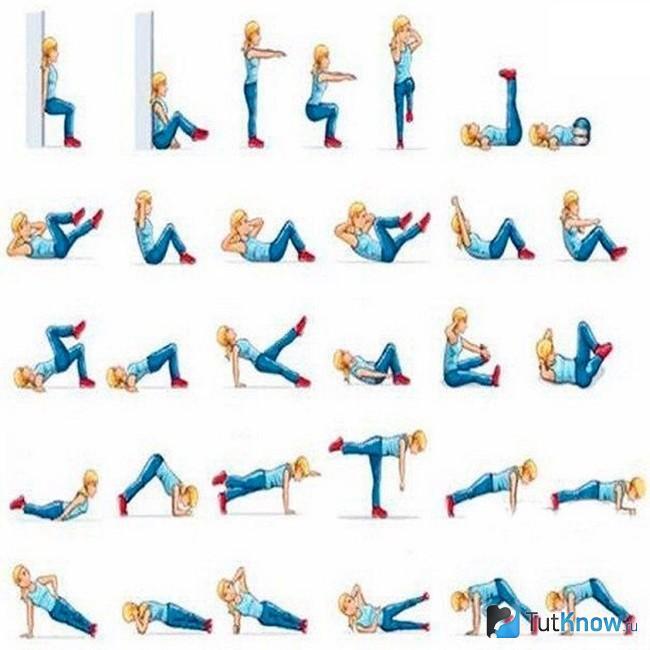 Графическое изображение полезных упражнений для похудения