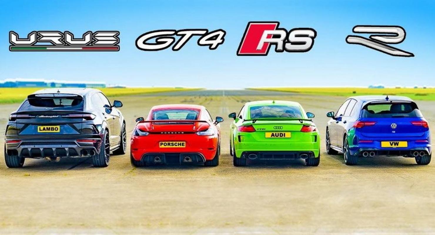 Дрэг-гонка: Audi TT RS, Porsche GT4, VW Golf R против Lamborghini Urus Автомобили