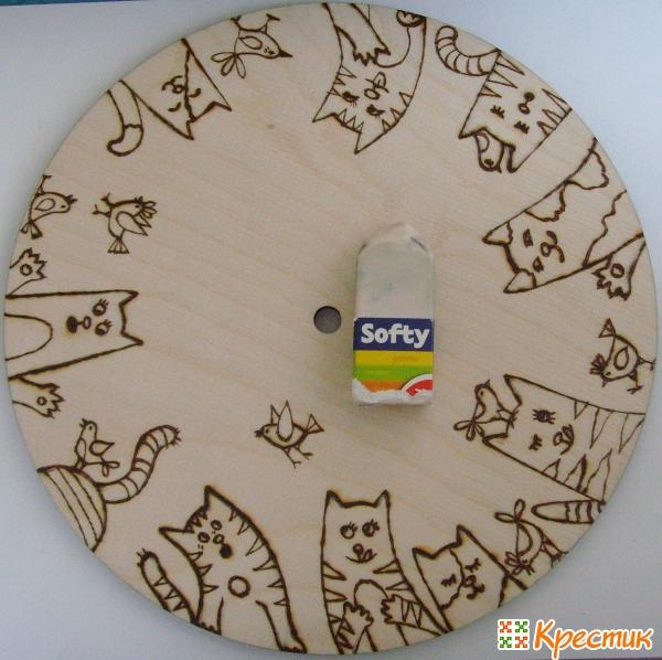 «Веселые котики и птички»: делаем настенные часы для детской своими руками дерево,поделки,часы