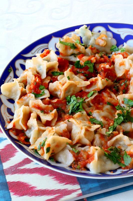Тыквенные манты с томатным соусом кулинария,овощные блюда,узбекская кухня