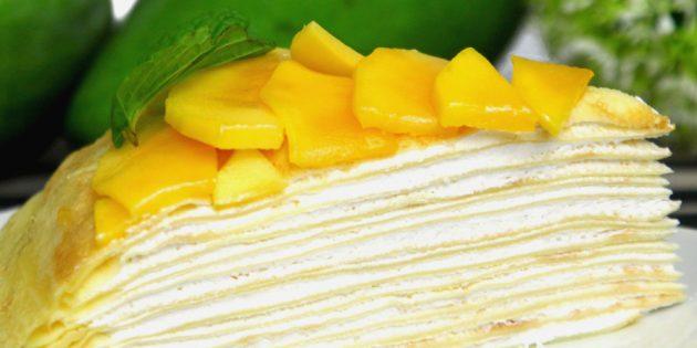 Рецепты: Блинный торт с творожным кремом