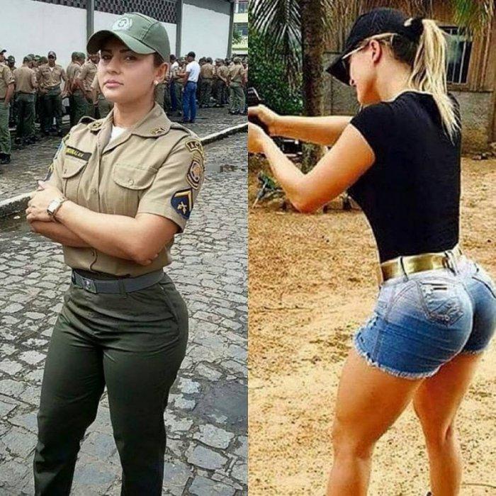 Девушки в рабочей и в обычной одежде