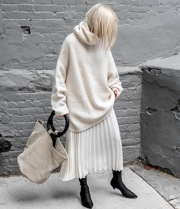 с чем носить юбку зимой модные идеи