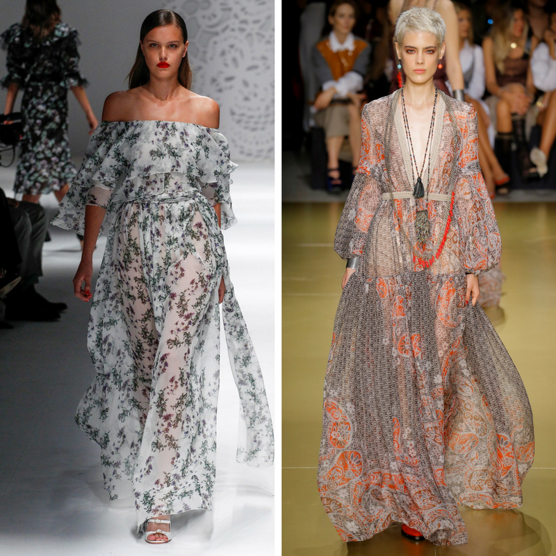 Модели в полупрозрачных платьях в пол