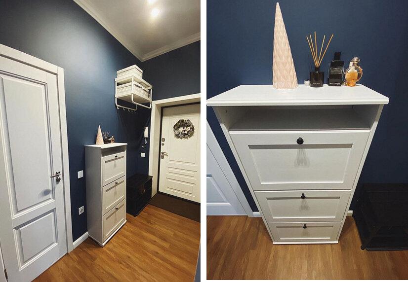 Узкий коридор в темно-синем цвете ломает стереотипы идеи для дома,интерьер и дизайн,прихожая
