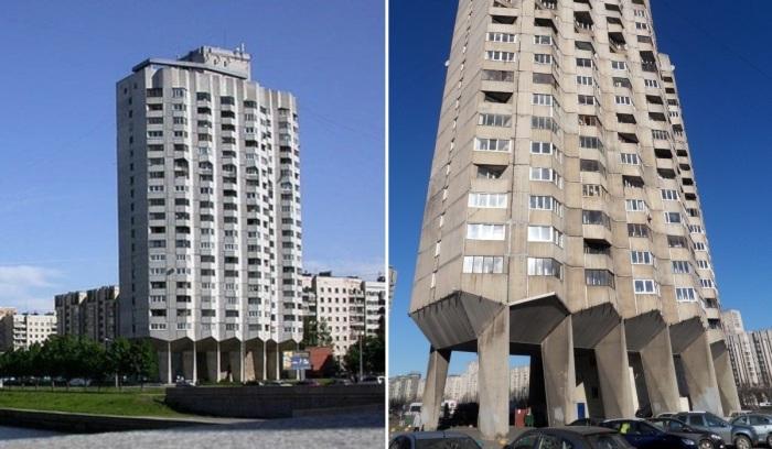 Вдоль реки Смоленки было построено четыре 22-этажных дома на опорах (Санкт-Петербург). | Фото: designyoutrust.com.