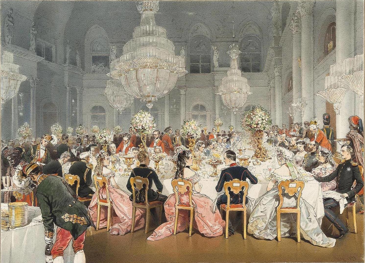 Михай Зичи Торжественный ужин в Концертном зале Зимнего дворца у Императора Германии