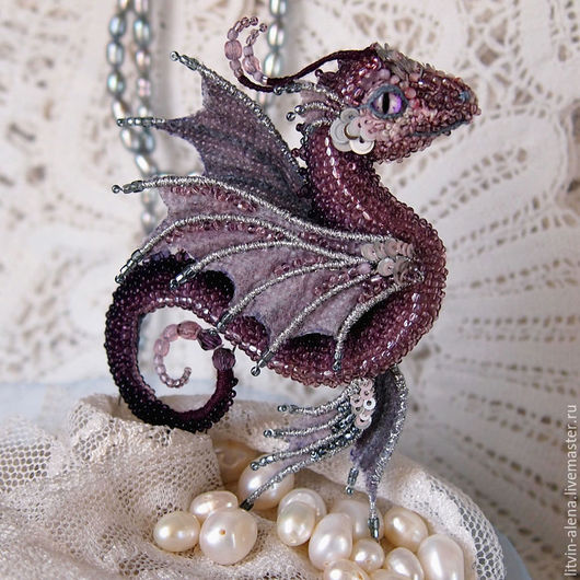 Brooches handmade. Livemaster - handmade. Buy Brooch dragon 'Sea butterfly'. Brooch beads. Embroidered dragon.Brooch, brooch handmade