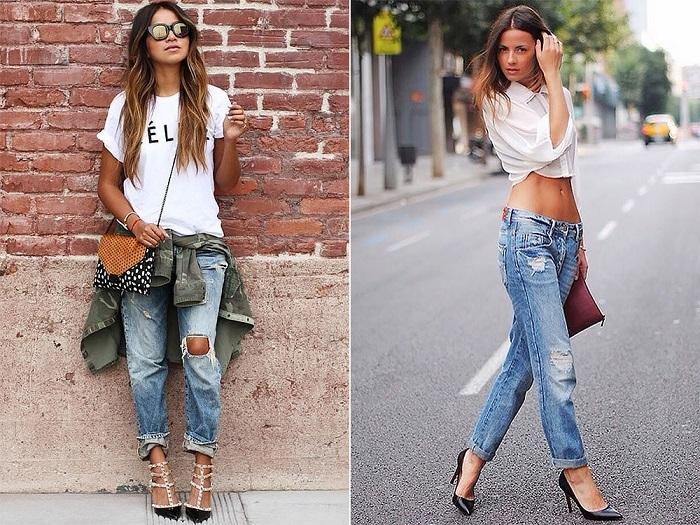 Бойфренды можно носить как с футболками, так и с блузами. / Фото: differed.ru