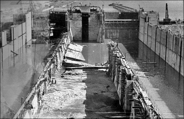 Авария в Чайковском шлюзе. 10 мая 1962 года, Воткинский гидроузел на реке Кама СССР, катастрофы, советский союз, техногенные катастрофы