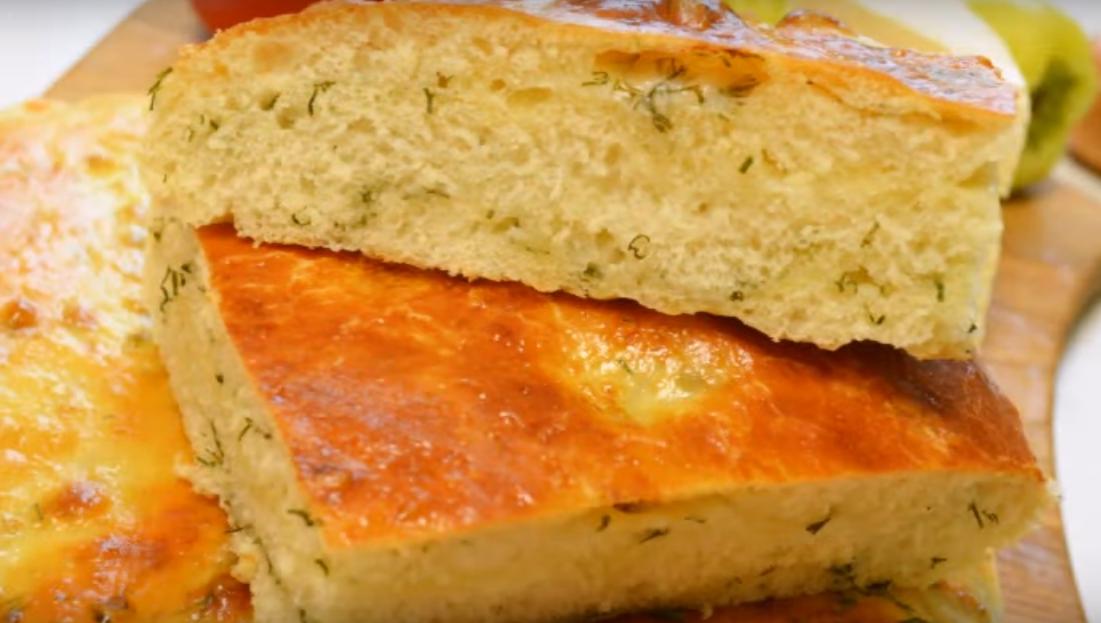 Ароматный хлеб-лепёшка с сыром и укропом