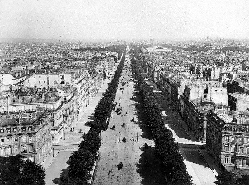 Вид на Елисейские поля. Париж. Французская империя. 1870 год. история, ретро, фото