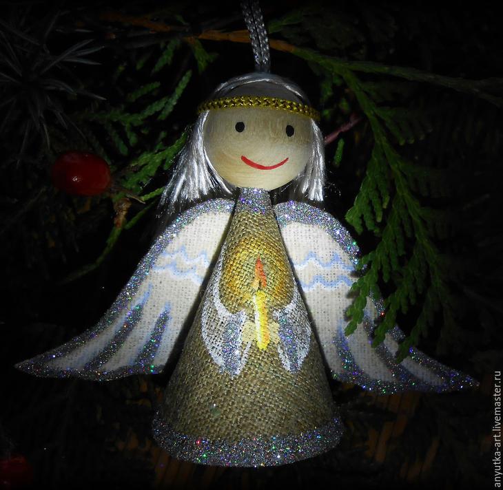 """Елочные украшения из льняной ткани — делаем """"Ангела"""""""