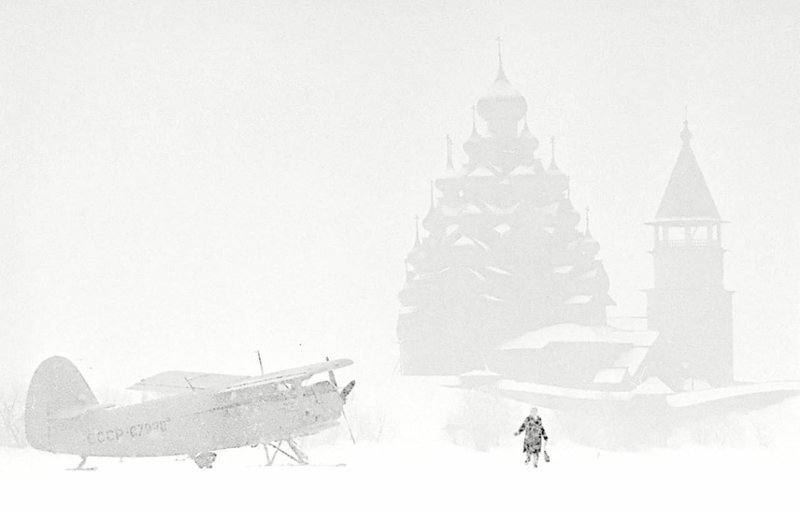 Снегопад на острове Кижи, Карелия, 1980 год. история, классика, фото