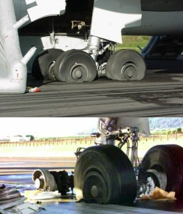 Поврежденные шасси Airbus A330 после посадки утром 24 августа 2001 года