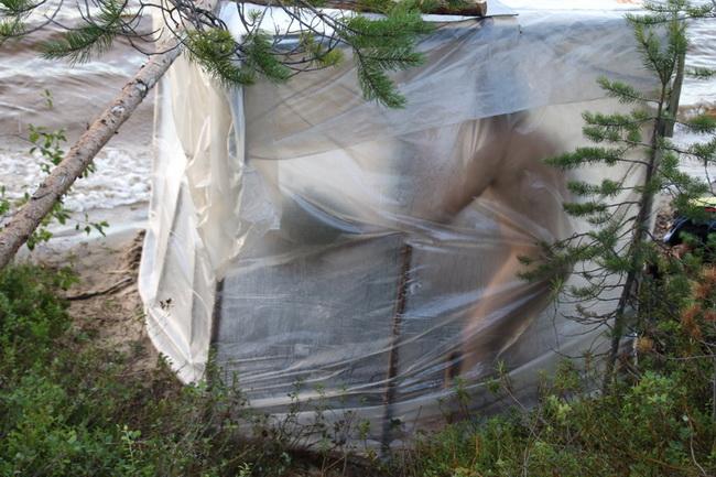 Походная баня на основе складной печки-буржуйки самоделкин