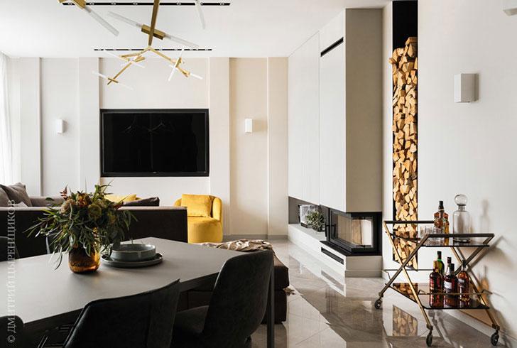 Мужская квартира в Санкт-Петербурге с камином и сауной (125 кв. м)