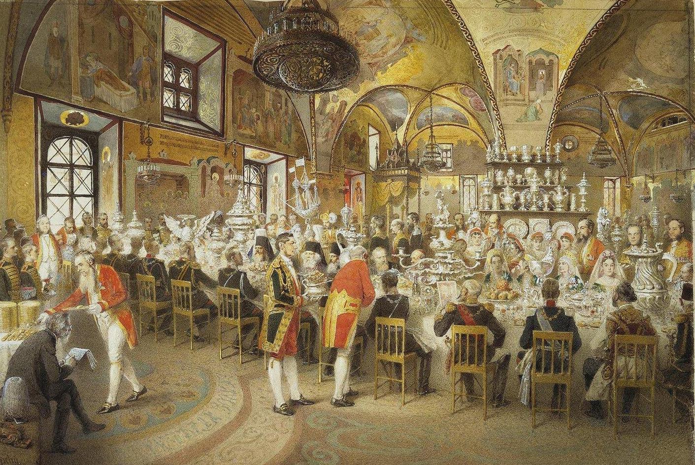 Торжественный ужин Михаила Зичи Александра II в Концертном зале Зимнего дворца