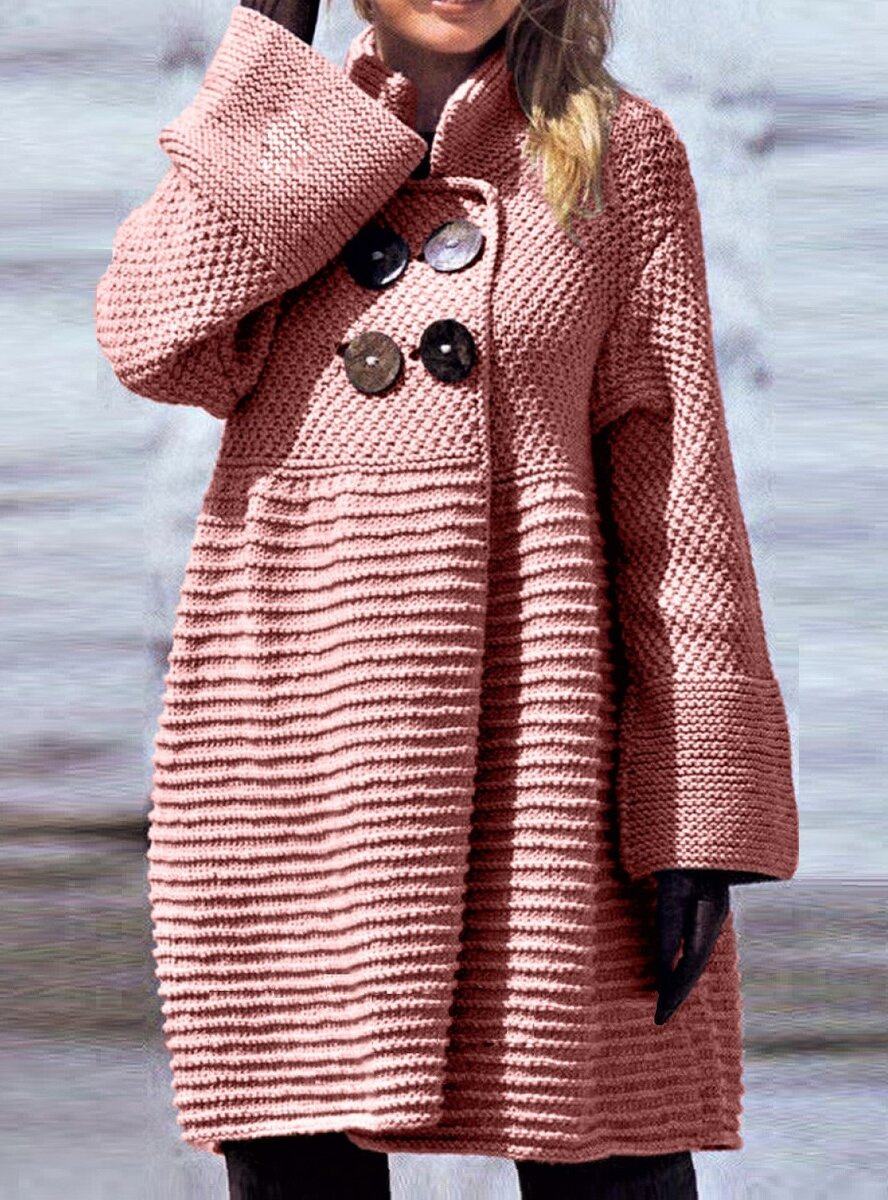 Простой способ связать роскошное пальто несложным узором