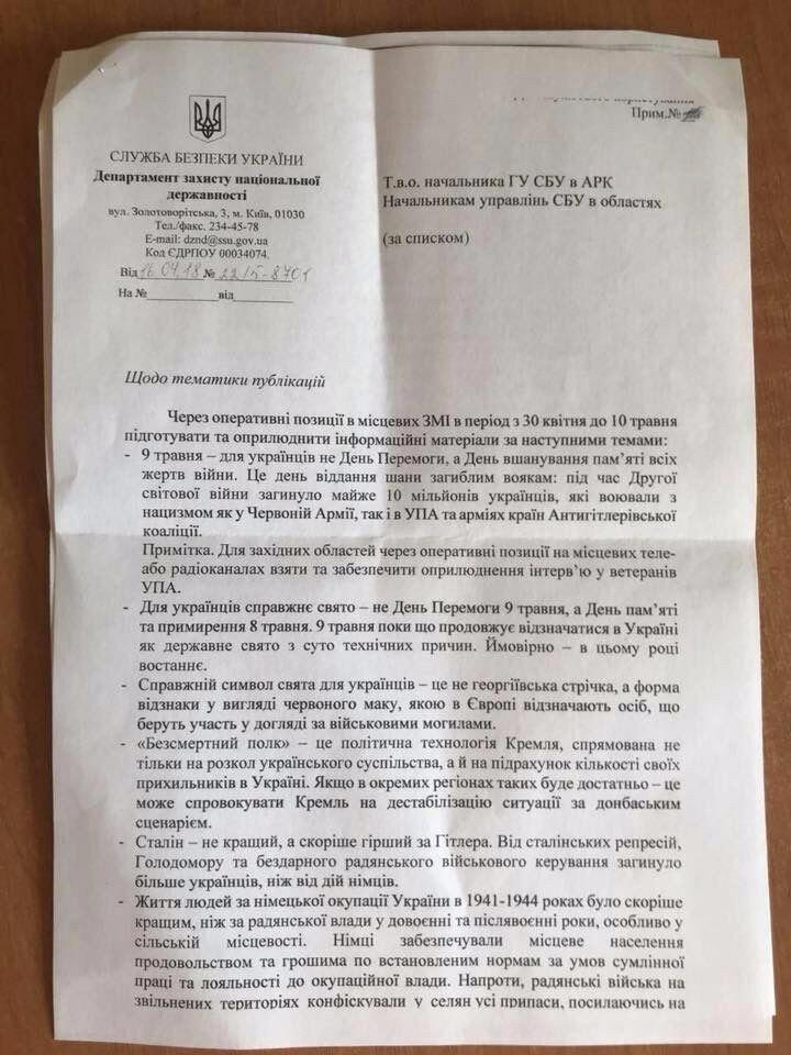 Тематика публикаций СБУ про День Победы