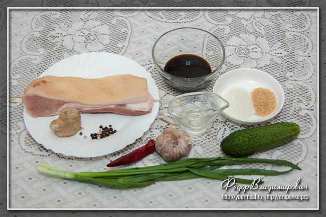 Ломтики свинины в чесночном соусе еда,пища,рецепты, закуски