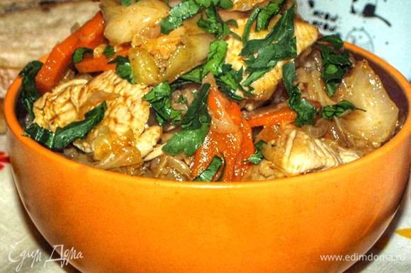 Индейка, томленная с капустой мясные блюда,овощные блюда