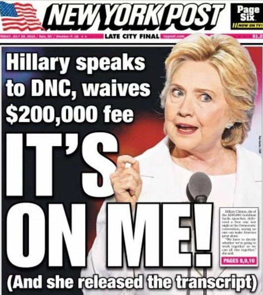 NY Post cover Clinton speech