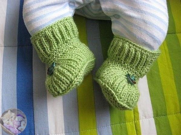 Пинетки-ботиночки спицами
