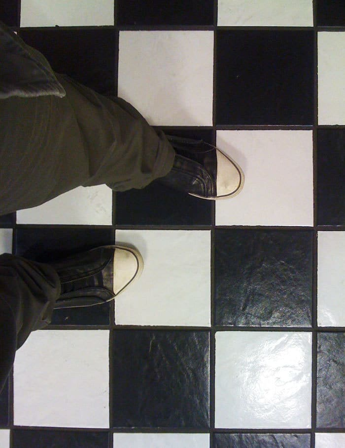 Shoes Match With The Floor Tiles