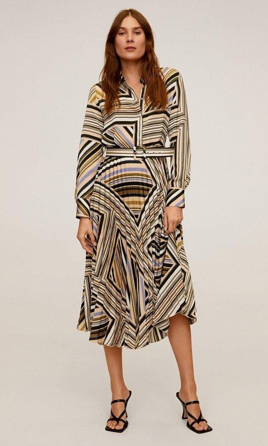 Платье-рубашка с плиссированной юбкой и геометрическим принтом