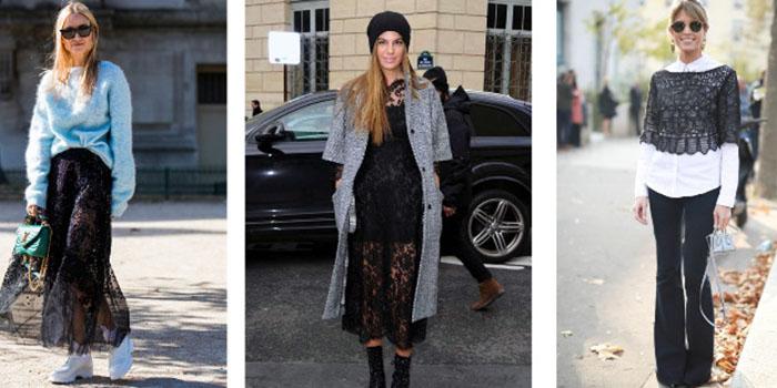 Вещи с кружевом: Как их стильно носить в холодное время года