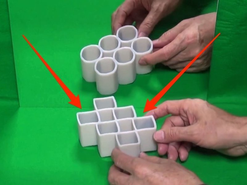 Всё это происходит из-за свойств «двуликих цилиндров» головоломки, задача, иллюзия, интернет, прикол