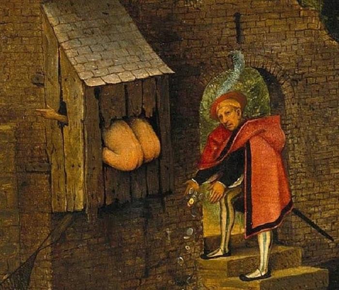 Процесс дефекации на картине средневекового художника (Питер Брейгель, середина XVI столетия).   Фото: bigpicture.ru.